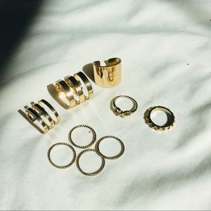 Pack of gold rings (9 pc)